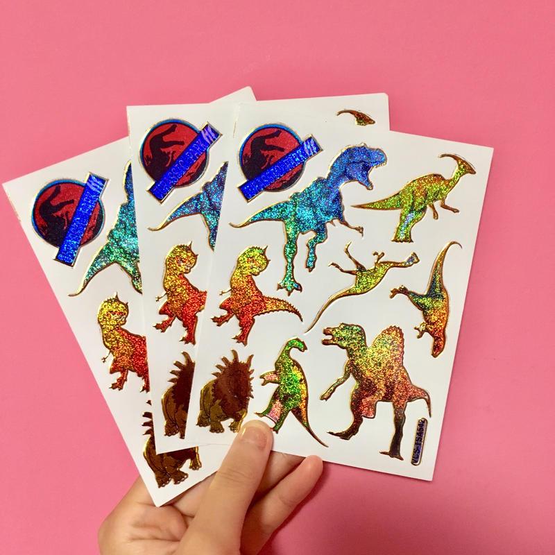 恐竜 キラキラ シール 3枚セット① DINOSAUR STICKER