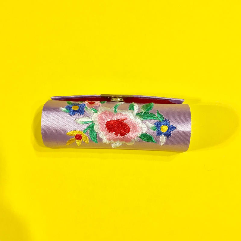 口紅ケース 台湾 刺繍 紫