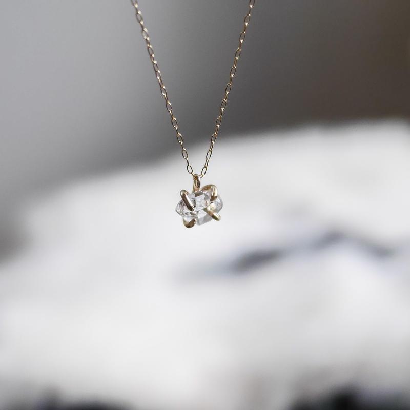 NY Herkimer diamond necklace 14kgf
