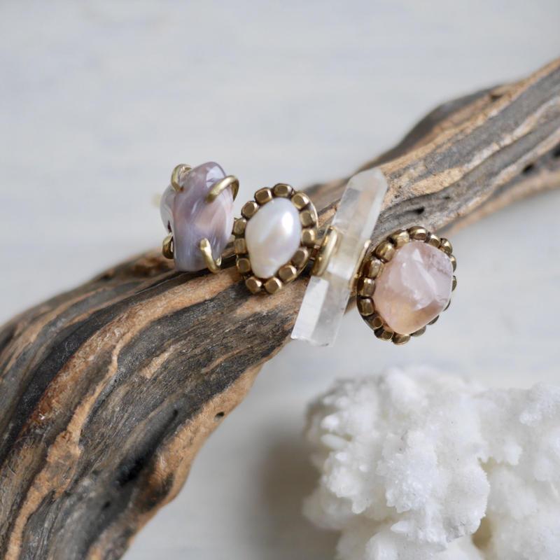 「Agate×Fresh water pearl×Crystal×Rosequartz」Gemstones bangle