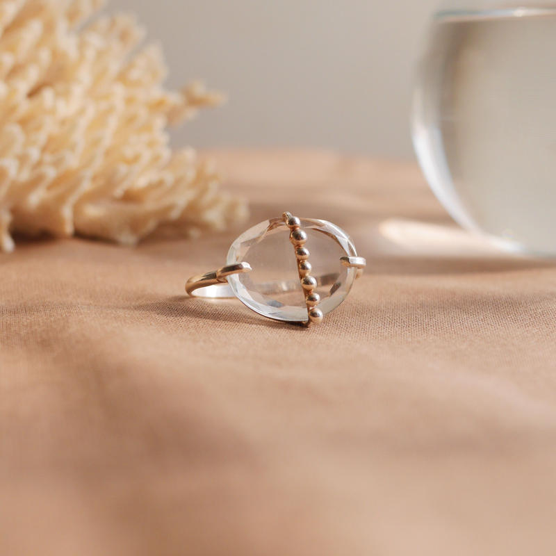Crystal dot 925 double finger ring