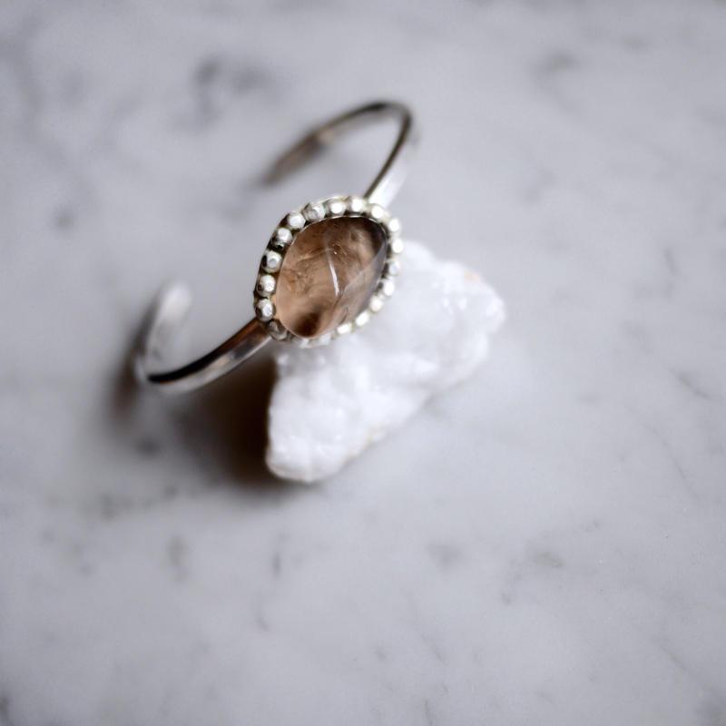 Silver950×Smoky quartz bangle