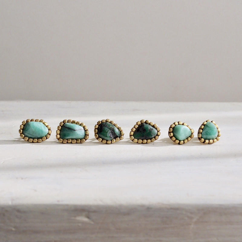 Gemstone earrings「Emerald」