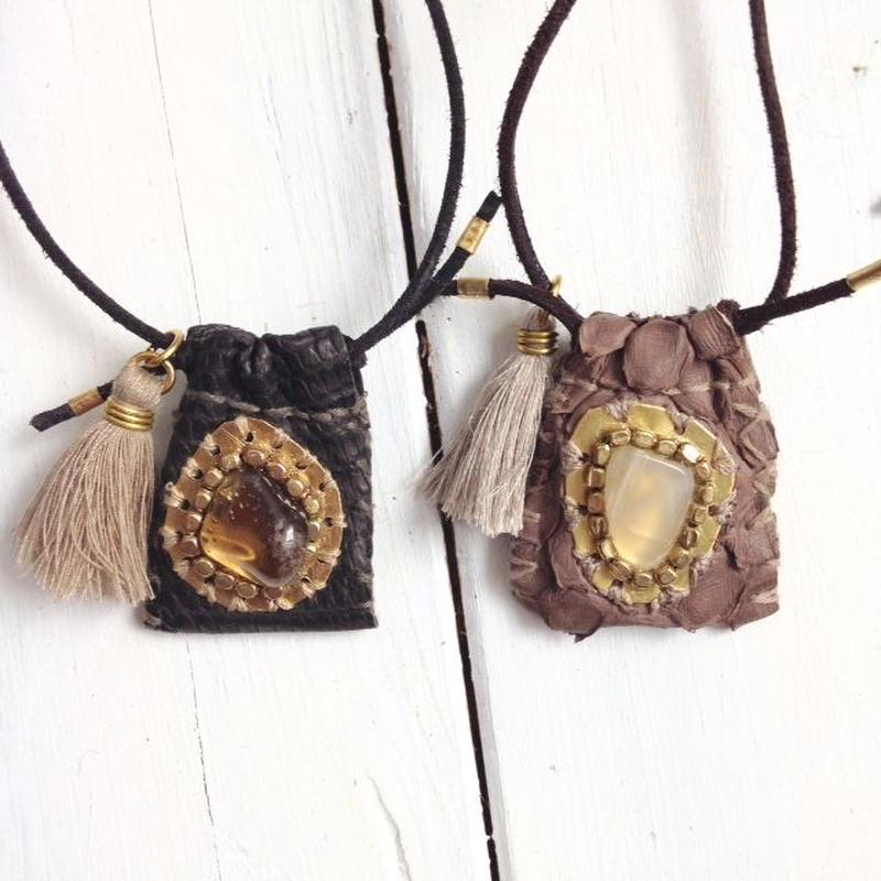 Gemstone×Leather Necklace