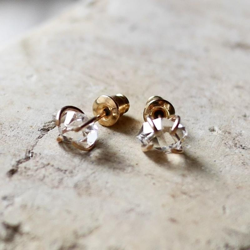 NY Herkimer diamond earrings k14gf
