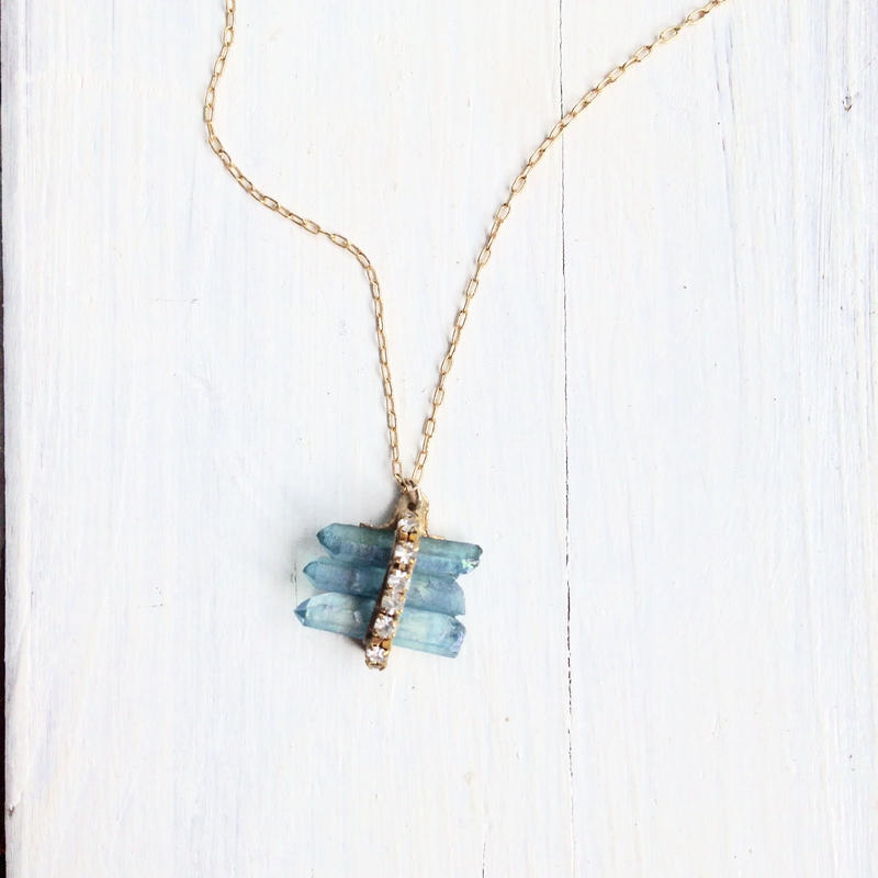 Aqua auras×vintage Swarovski necklace