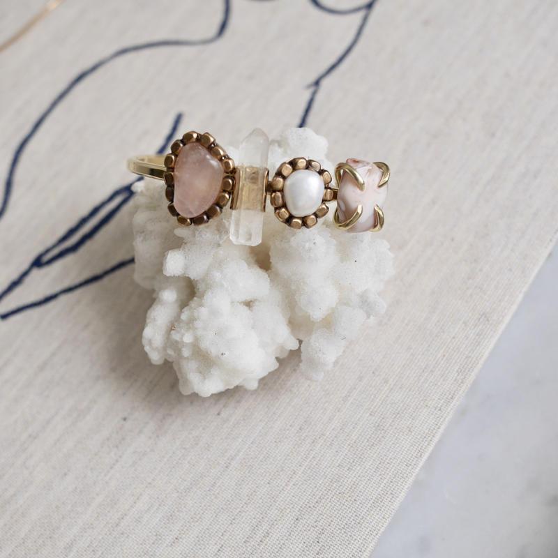 「Rose quartz×Crystal×Fresh water pearl×Agate」Gemstones bangle