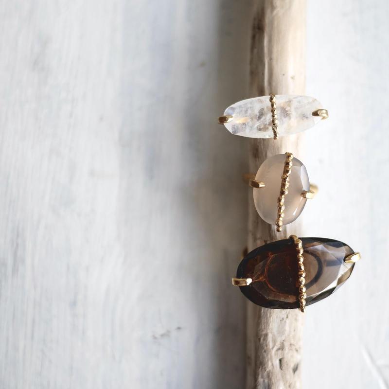Gemstone dot ring