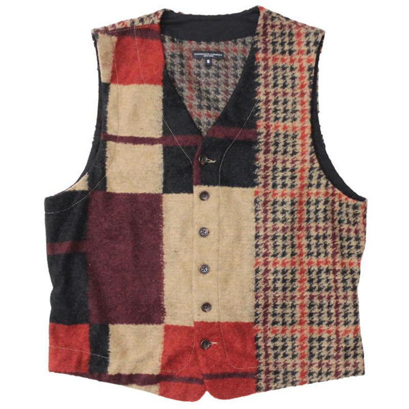 "Engineered Garments(エンジニアード ガーメンツ)""Knit Vest - Gun Club Multi Check Knit"""