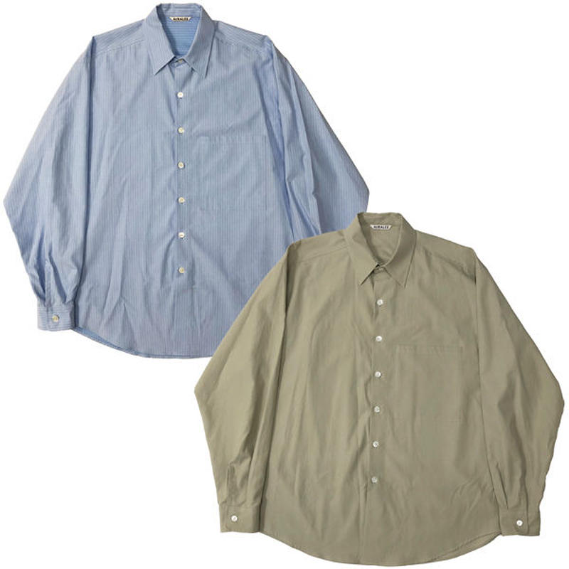 "AURALEE(オーラリー)""WASHED FINX TWILL BIG SHIRTS"""