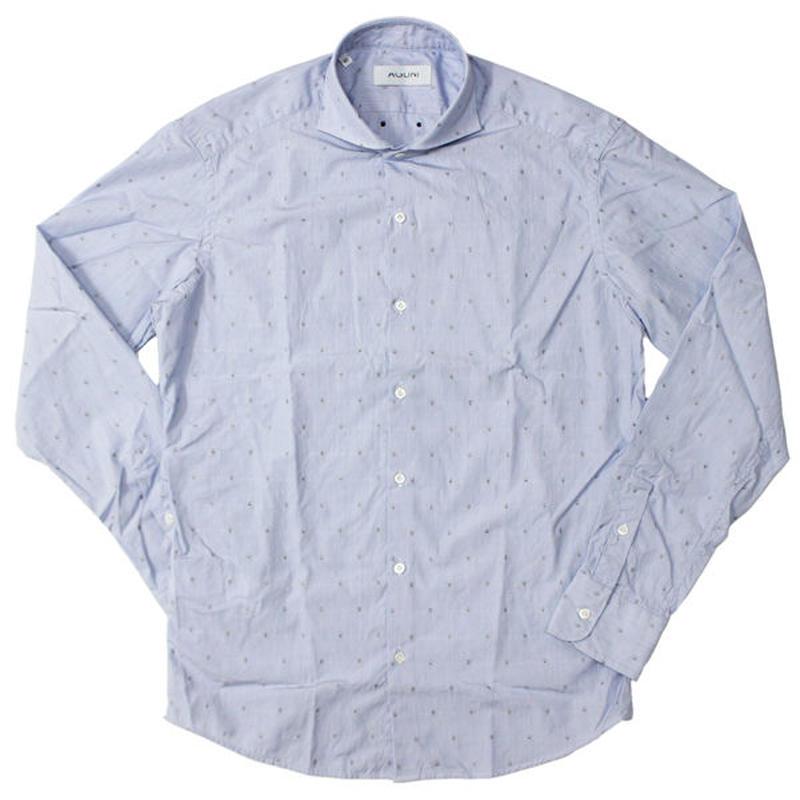 "AGLINI(アリーニ)""Stripe Skull Embroidery Wide Collar shirts"""