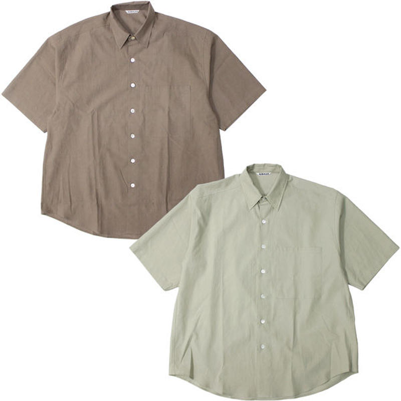 "AURALEE(オーラリー)""WASHED FINX TWILL HALF SLEEVED BIG SHIRTS"""