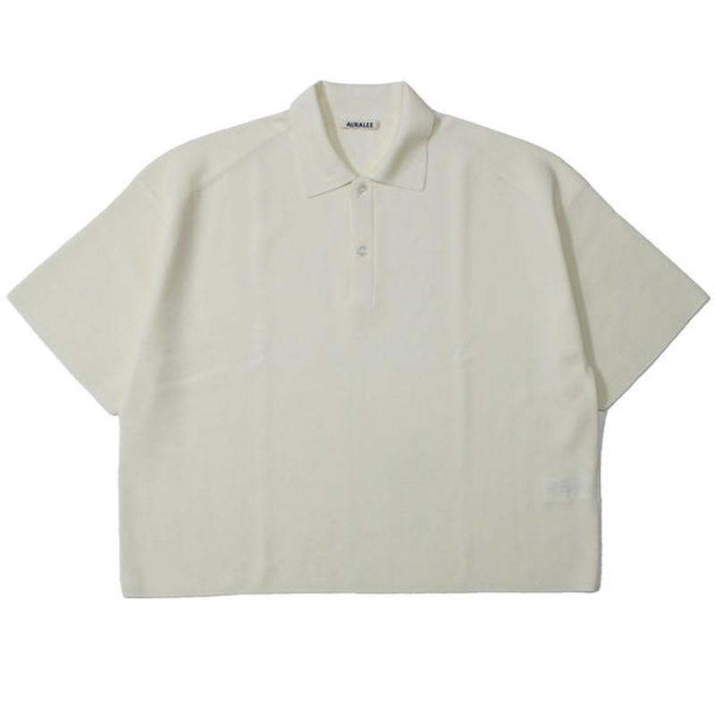 "Ladies' /AURALEE(レディース オーラリー)""WASHABLE WOOL RIB KNIT POLO"""