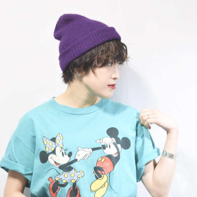 90's Mickey Mouse&Minnie Mouse Print Tee
