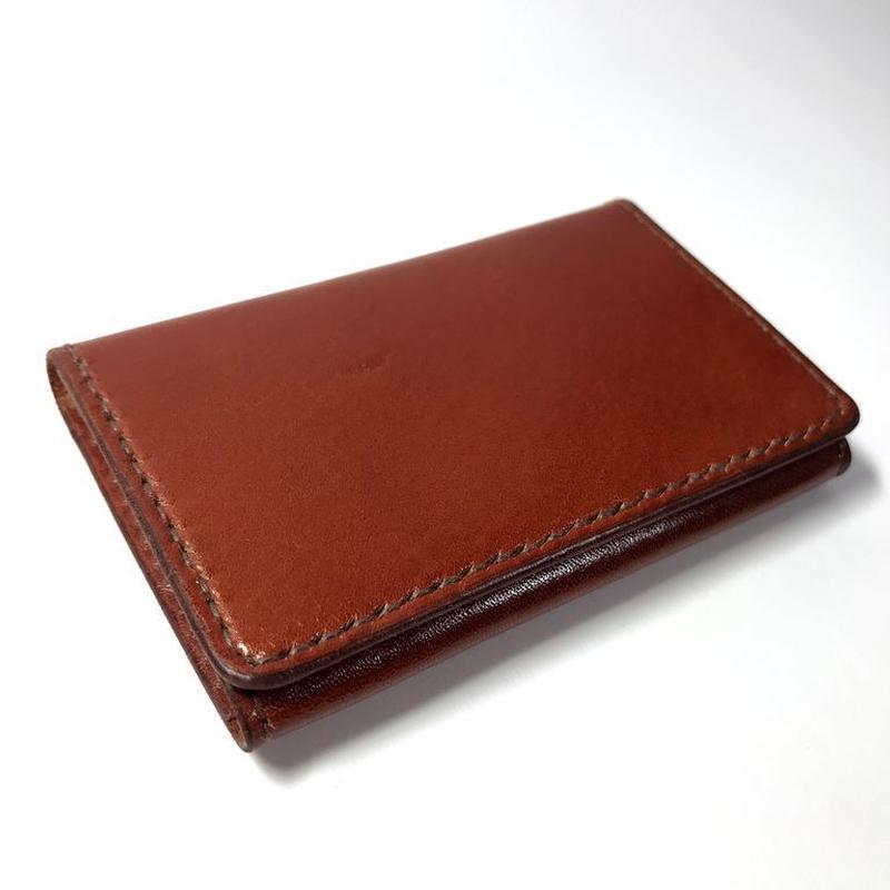 名刺入れ/カードケース ヌメ革:ブラウン【選べるステッチカラー】(r200)