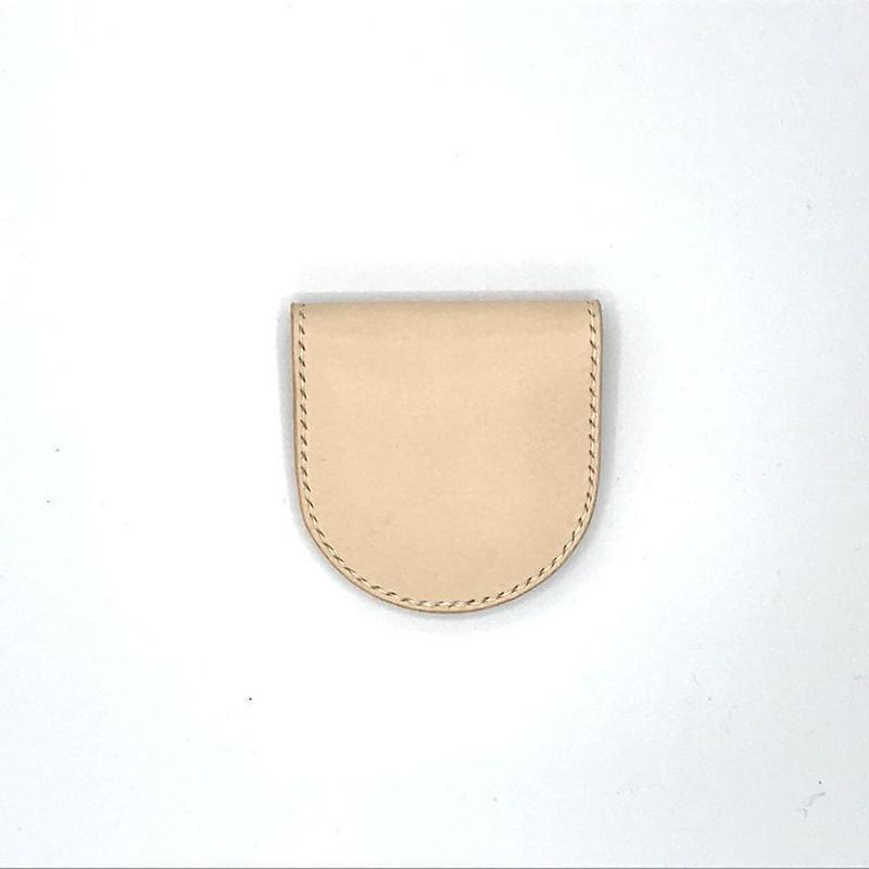 シンプルコインケース /小銭入れ ヌメ革:ナチュラル【選べるステッチカラー】(r006)