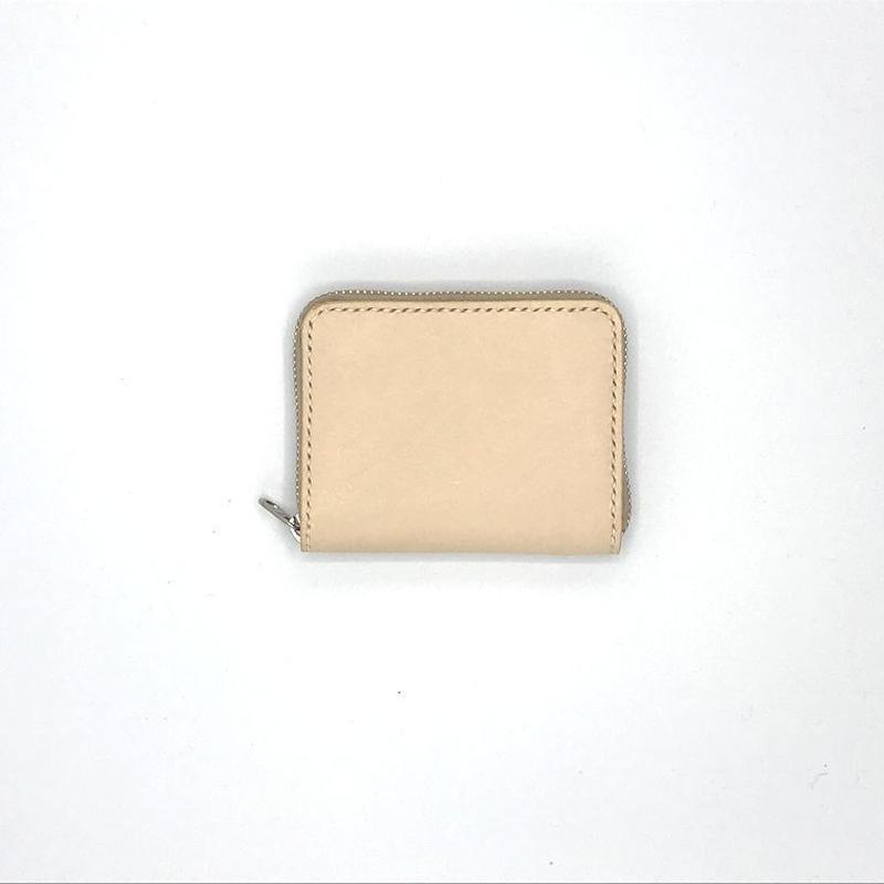 ラウンドファスナーコインケース/小銭入れ ヌメ革:ナチュラル【選べるステッチカラー】(r010)
