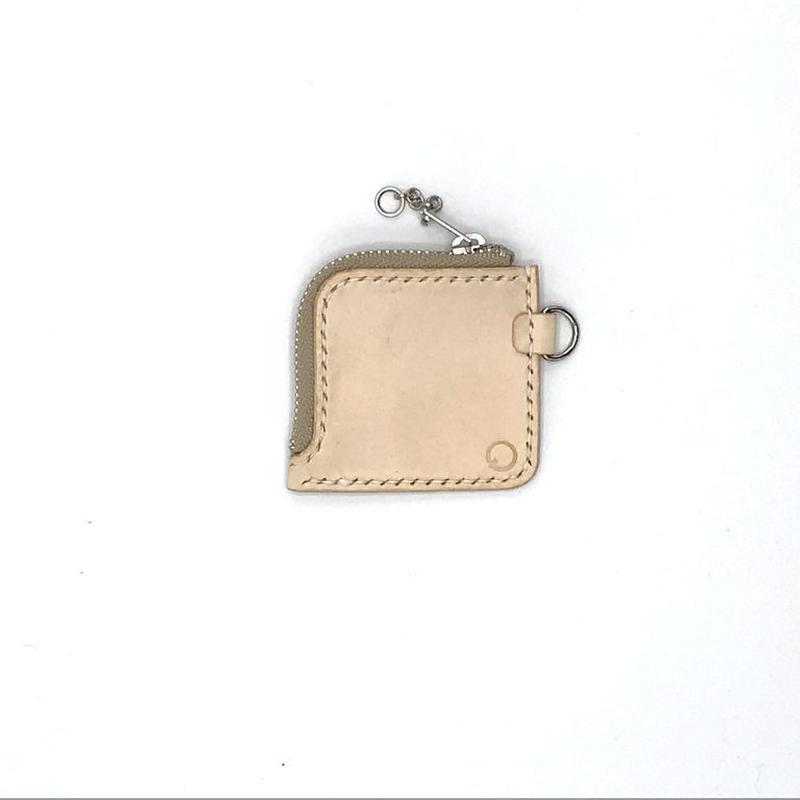 miniファスナーコインケース/小銭入れ ヌメ革:ナチュラル【選べるステッチカラー】(r002)