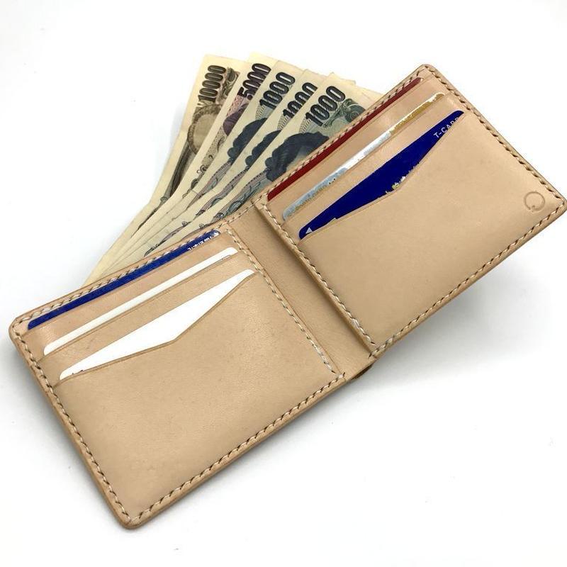 ショートウォレットver.2/札入れ/折り財布 ヌメ革:ナチュラル【選べるステッチカラー】(r102)