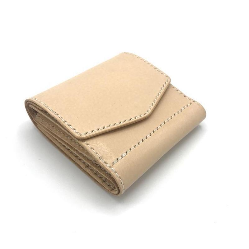 ショートウォレット ver.3/折り財布 ヌメ革:ナチュラル【選べるステッチカラー】(r104)