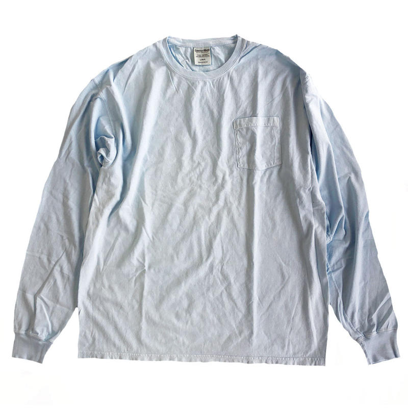 COMFORT WASH BY HANES /  Ringspun Cotton Garment-Dyed TEE 後染め 長袖Tシャツ ヘインズ SOOTHING BLUE