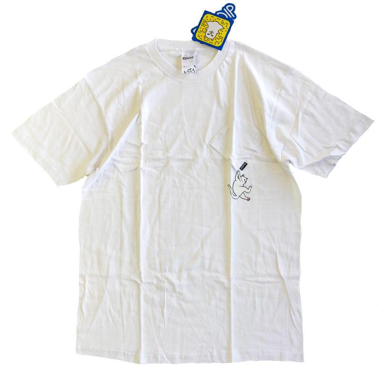 RIPNDIP /HANG IN THERE POCKET  TEE S/S TEE WHITE リップンディップ Tシャツ