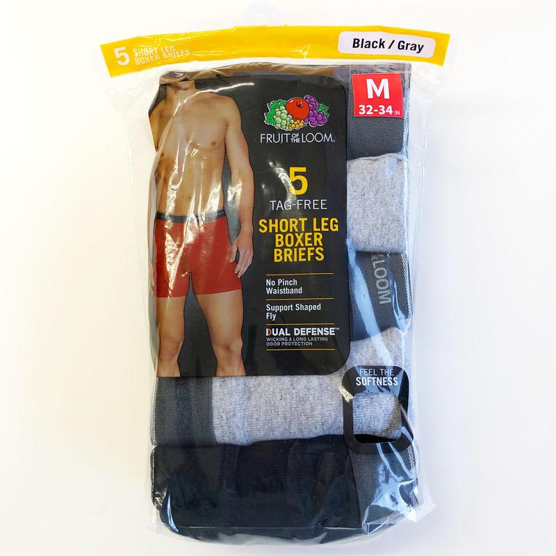 Fruit of the Loom / Short Leg BOXER BRIEFS 5PACK Black and Gray フルーツオブザルーム ボクサーブリーフ ショートレッグ
