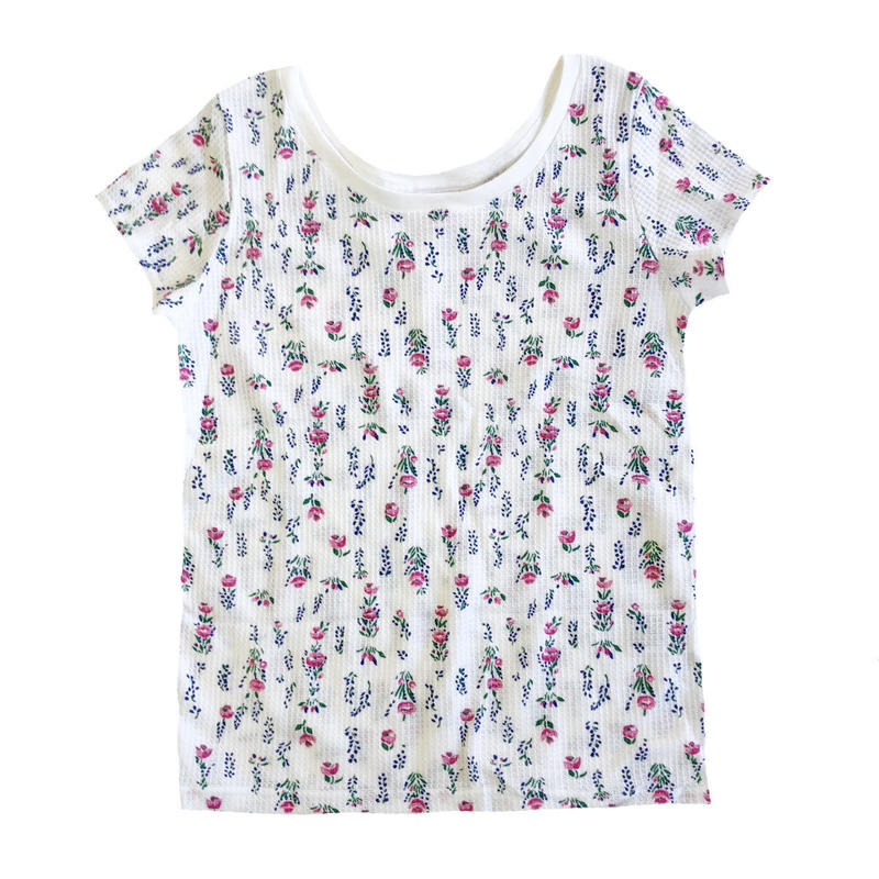 JE MORGAN / レディース 花柄サーマル S/S TEE ホワイト Tシャツ