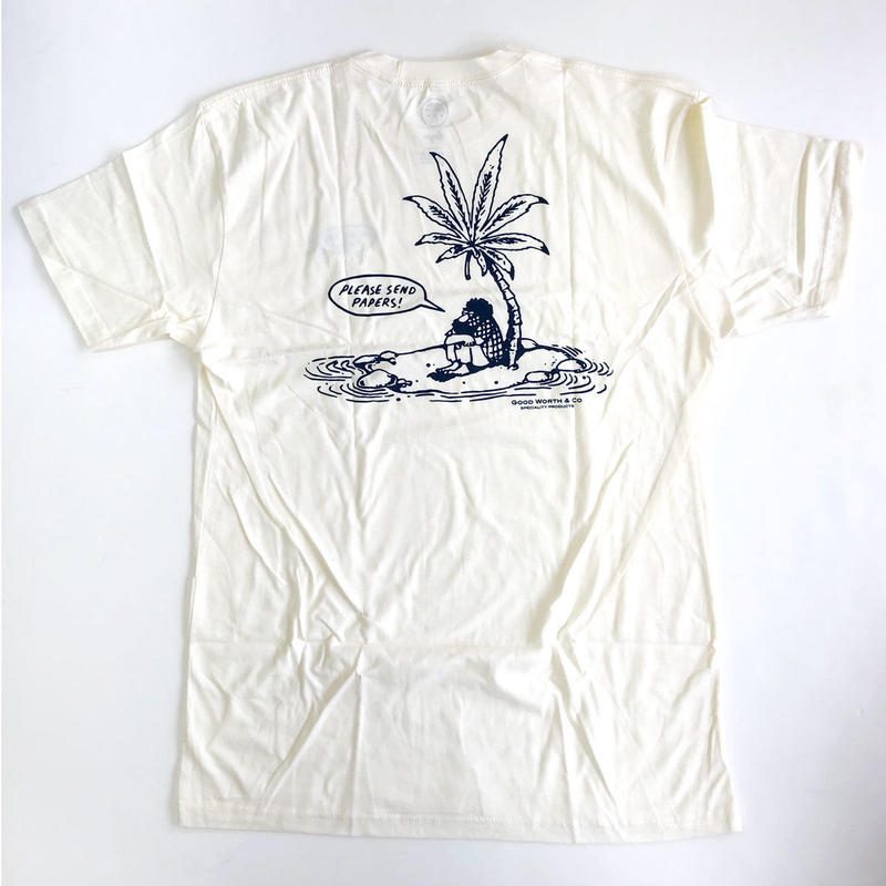 GOOD WORTH / SEND PAPERS TEE  NATURAL  グッドワース  Tシャツ