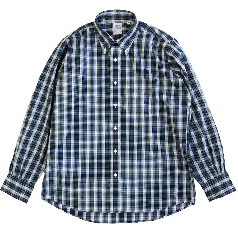 THE BAGGY  BROADCLOTH L/S BD SHIRTS  BLUExGREEN  バギー ボタンダウンシャツ