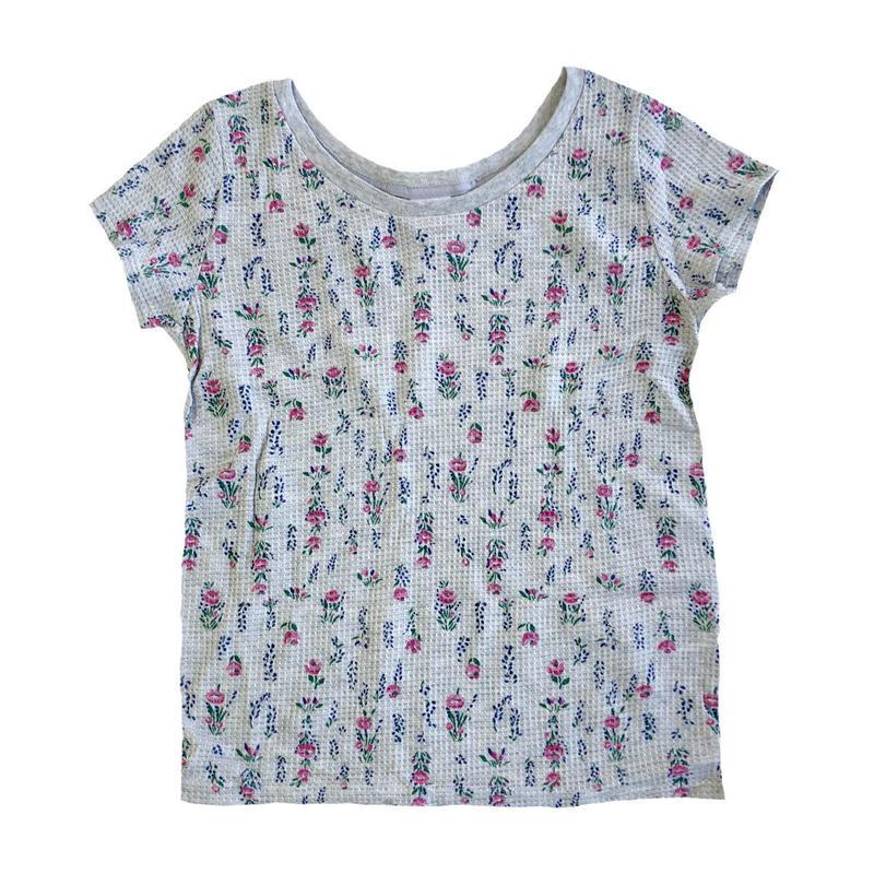 JE MORGAN / レディース 花柄サーマル S/S TEE グレー Tシャツ