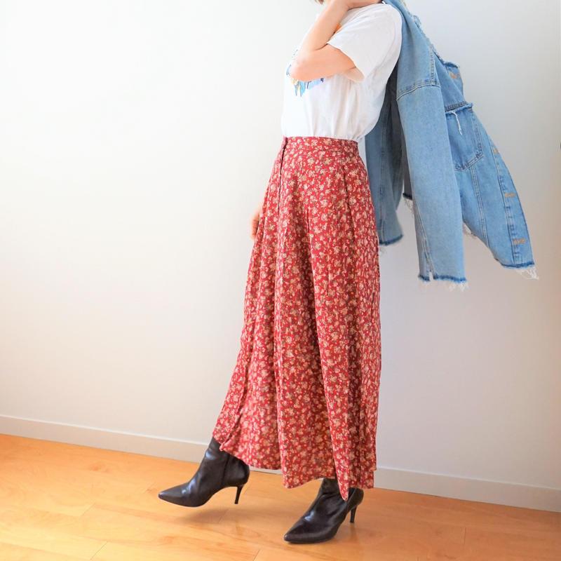 <R.vintage(rv0025)>flower skirt