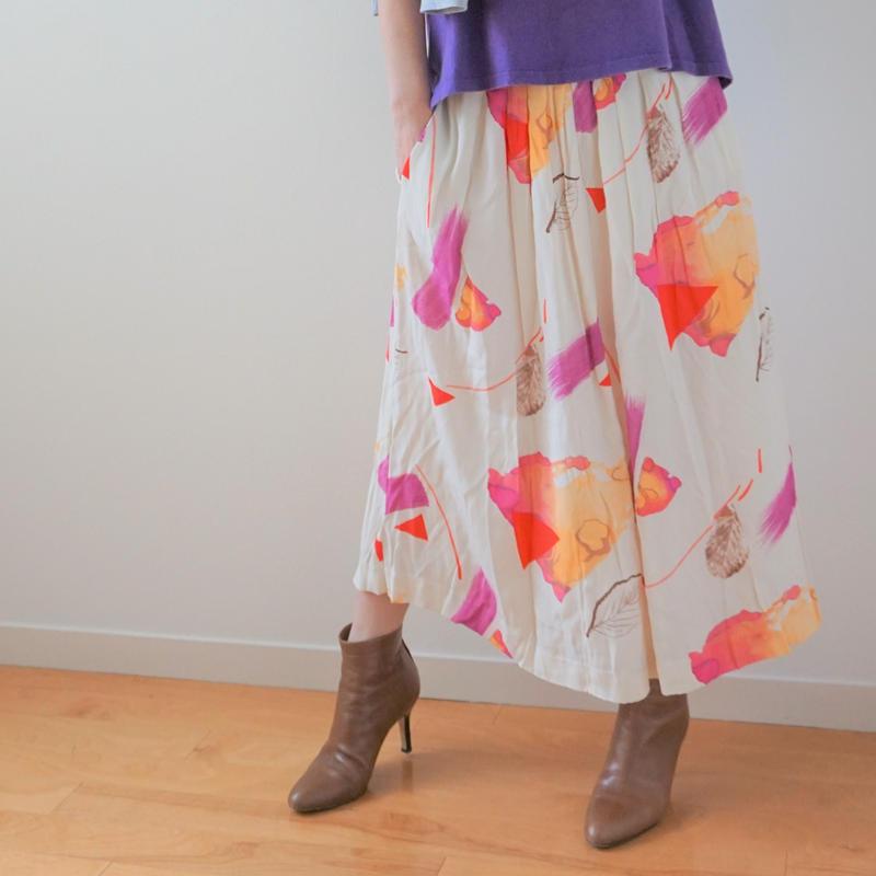 <R.vintage(rv0074)>printed skirt