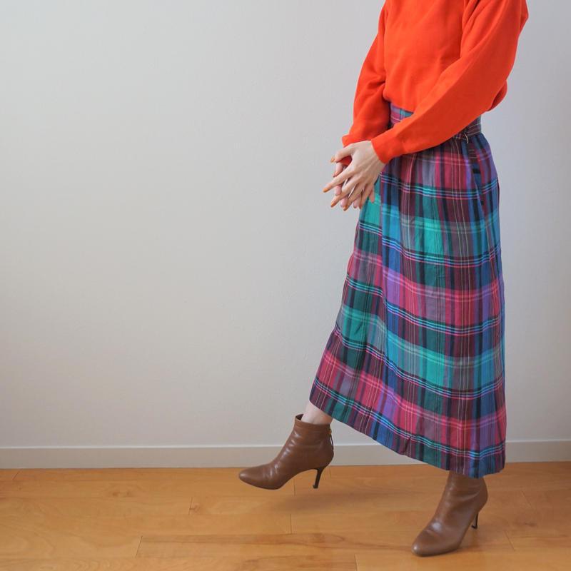 <R.vintage(rv0041)>check skirt