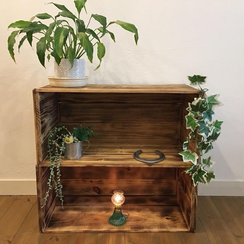 焼き目  りんご箱 2箱 / 販売 木箱 ウッドボックス 収納 箱