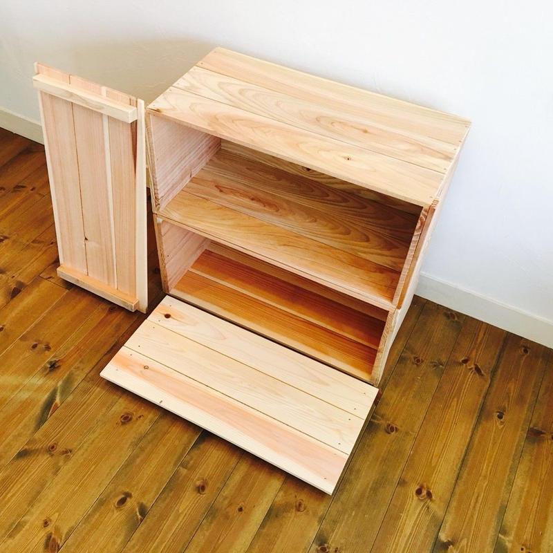新品 蓋付 りんご箱 2箱 / 販売 木箱 ウッドボックス 収納 箱