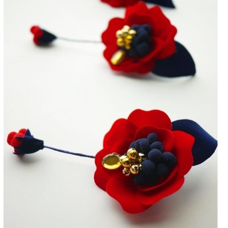 《数量限定》velvet flower clip 〈red〉