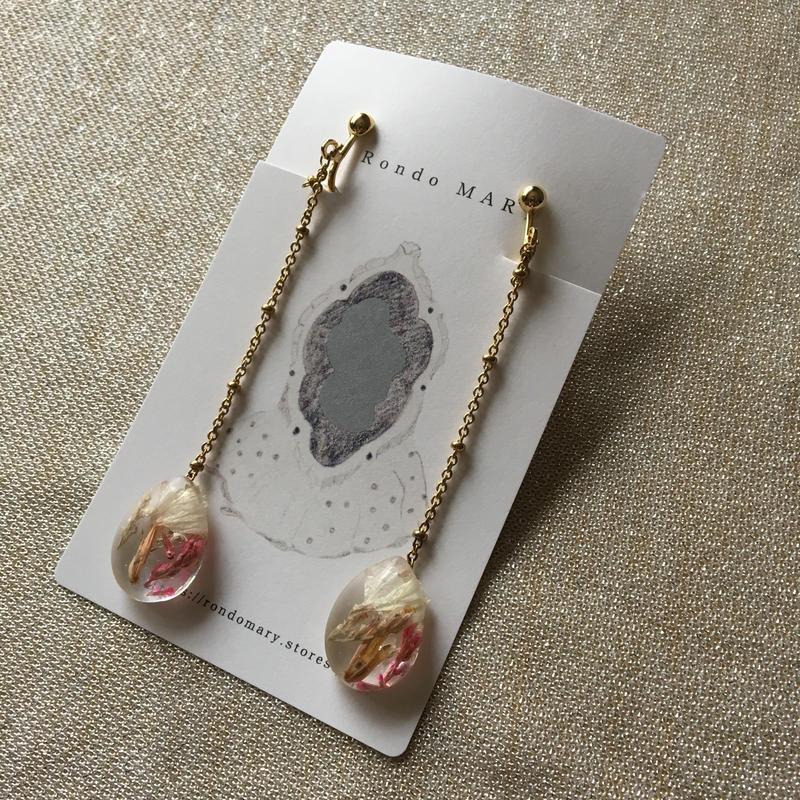 chain earrings  ドライフラワーレジン