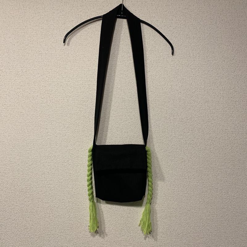 三つ編みポシェット:グリーン