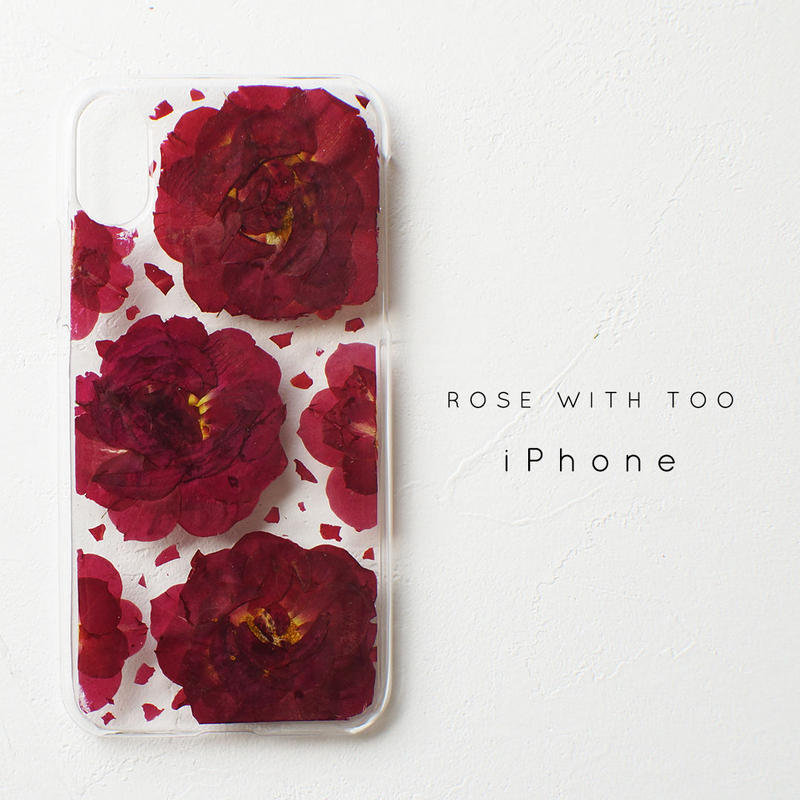 【再販】iPhone / 押し花ケース1008_2 red rose