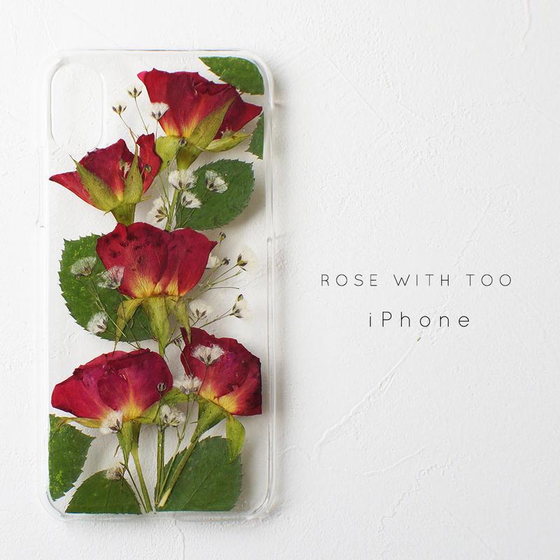 【再販】iPhone / 押し花ケース 1213_3 red