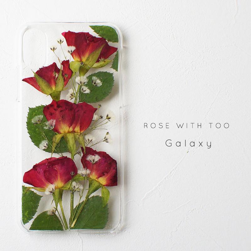 【再販】Galaxy / 押し花ケース 1213_3 red