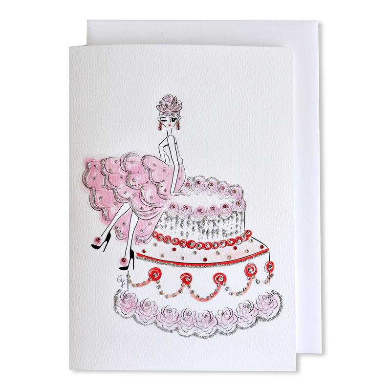"✦Yurika's Drawing✦ ""ROSE LADY with ROSE CAKE"" GREETING CARD[L]"