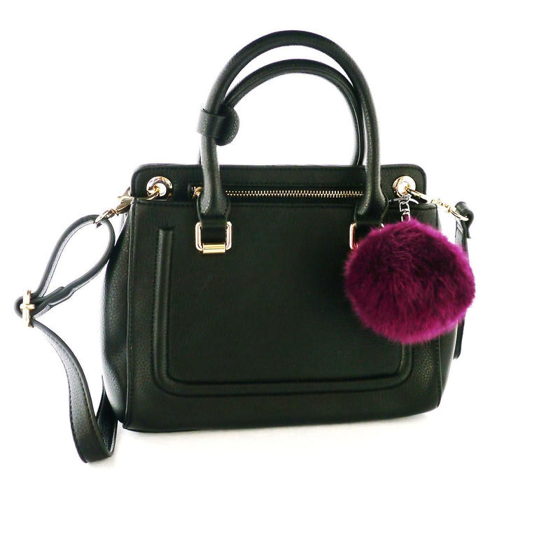 HANDBAG with REAL RABBIT FUR CHARM-Black