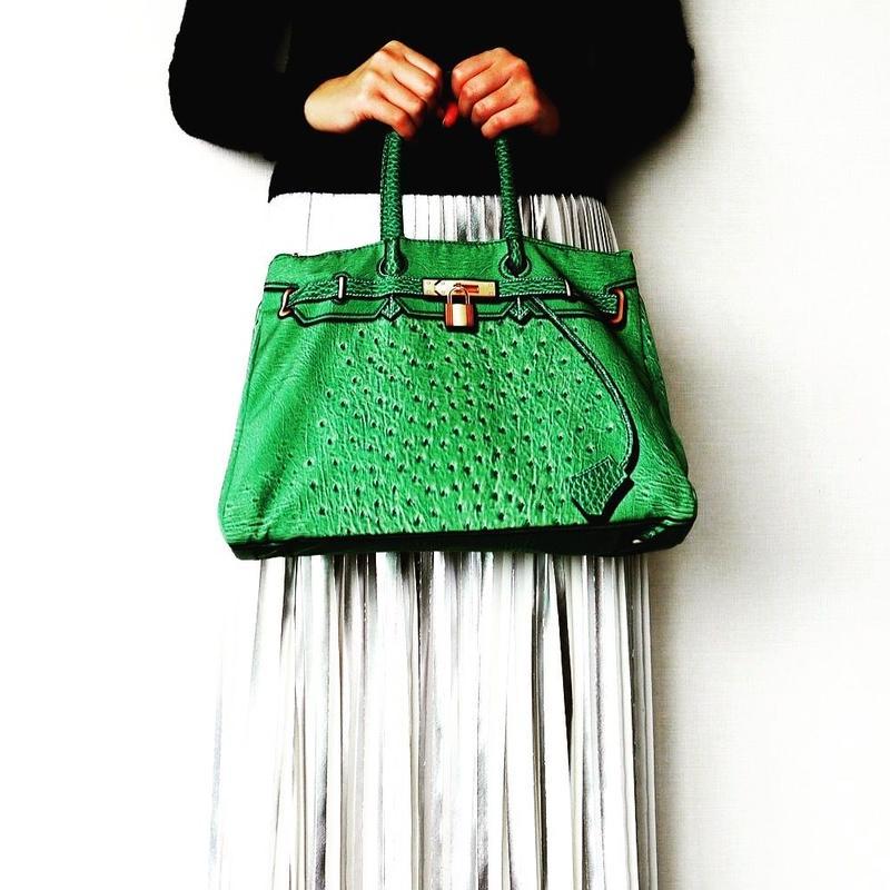 BIRKIN-ISH PRINT BAG: ostrich-green  L-size