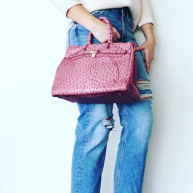 BIRKIN-ISH PRINT BAG: ostrich-mauve pink  M-size