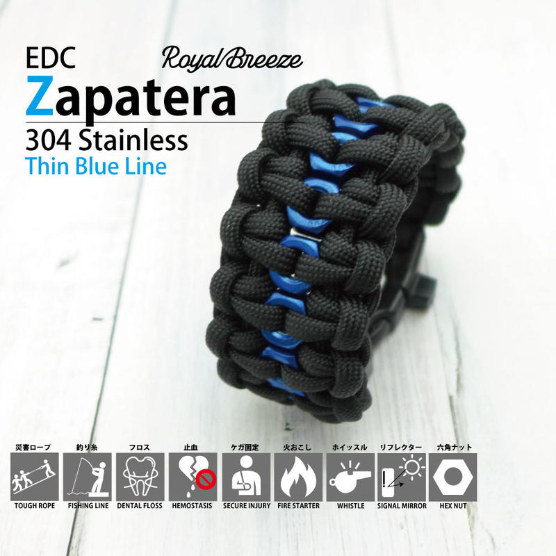 Royal Breeze|パラコード|ブレスレット|シンブルーライン|ブラック|EDCザパテラ|ハンドメイド|日本製