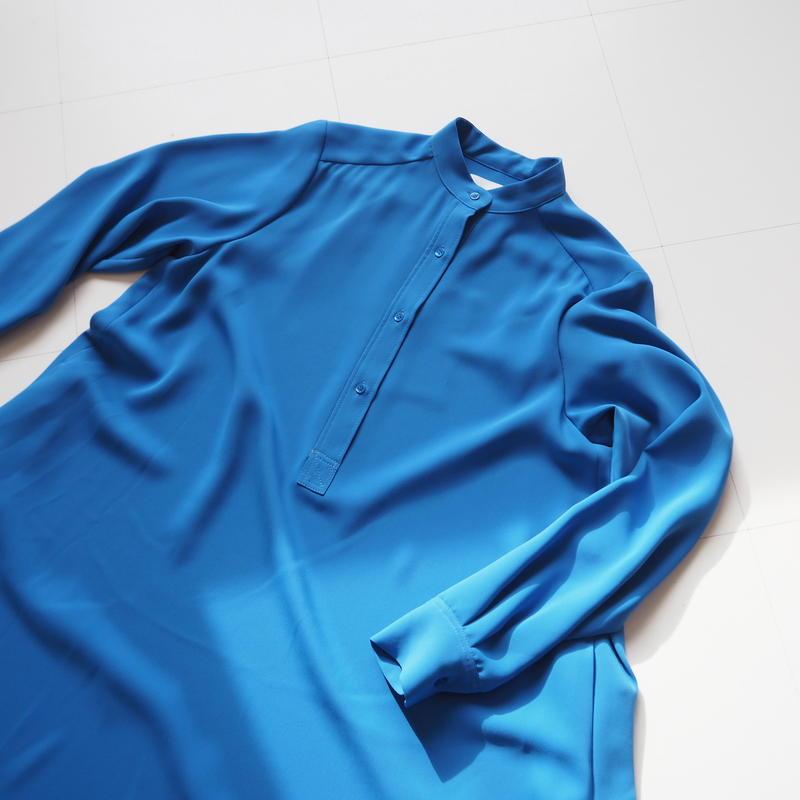"Graphpaper ""Satin Band Collar Flare Dress"" Blue"