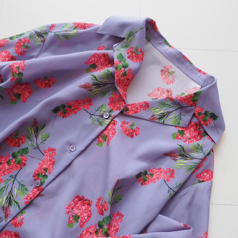 "Graphpaper ""Flower Printed Shirt Dress / The floral print designed by *ENAMEL"" Purple"