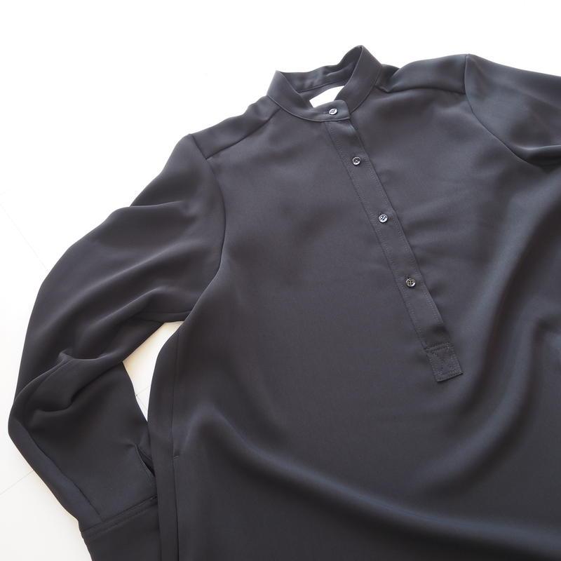 "Graphpaper ""Satin Band Collar Flare Dress"" Black"